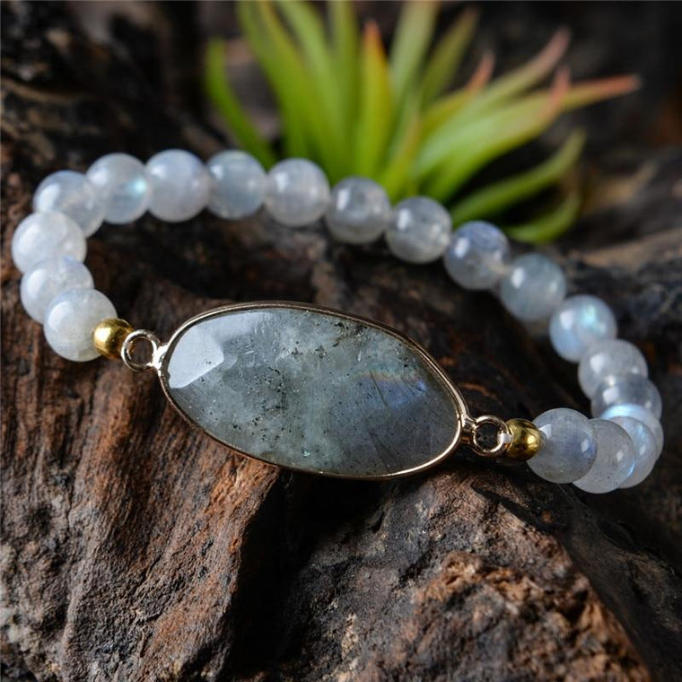 Natural Beaded Labradorite Bracelet
