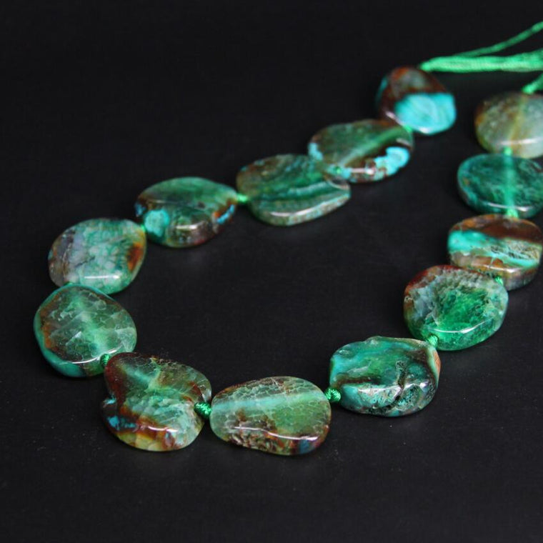 Natural Raw Green Agate Slab Necklace