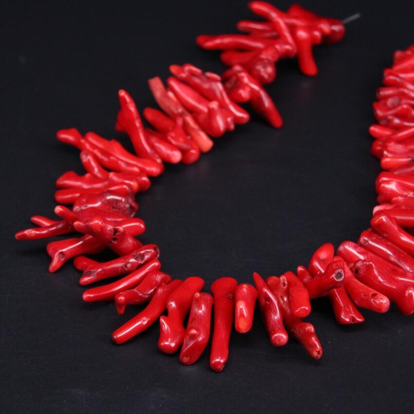 Natural Red Bamboo Coral Top Drilled Branch Necklace - Rutuli