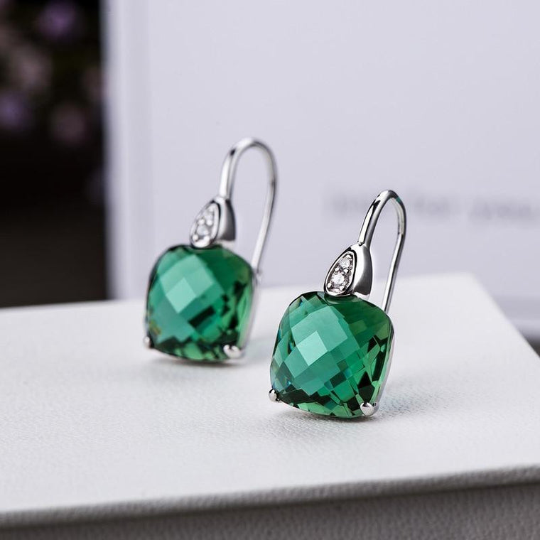 Silver 925 Natural Crystal Emerald Dangling Earrings
