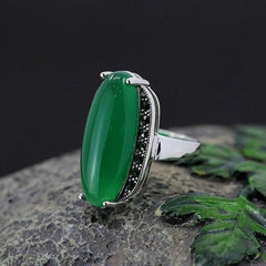 Sterling Silver Adjustable Green Agate or Red Ruby Ring - Rutuli