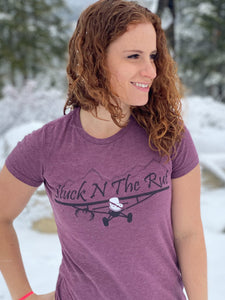 Women's Maroon Airplane Fitted Combo T-Shirt