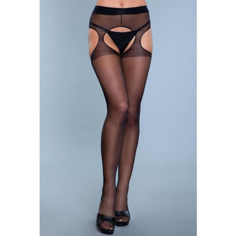 1924 Rare Sight Suspender Pantyhose Black