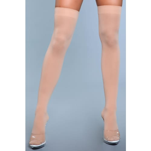 1932 Opaque Nylon Thigh Highs Nude - Hosiery