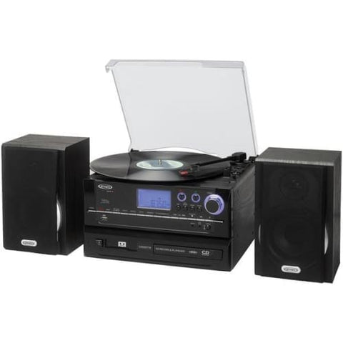 3-Speed Stereo Turntable CD Recording System with Cassette Player, AM-FM Stereo Radio & MP3 Encoding