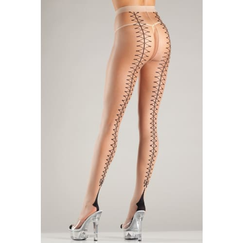 BW702 Pull My Strings Pantyhose - Nude/Black / Female / One Size - Hosiery