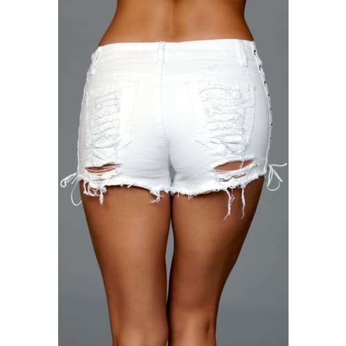 J5WT Looped In Distressed Shorts - White - Shorts
