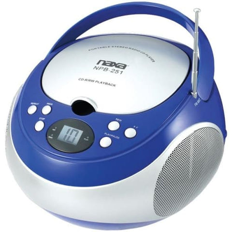 Portable CD Player with AM-FM Radio (Blue)