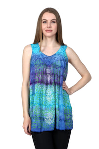 Colorful Sleeveless Palm Tree Tie Dye Top