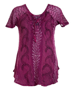 Short Sleeved Print Design Tie Front Rayon Top