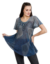 Load image into Gallery viewer, Tie Dye Short Sleeved Block Print Top