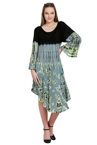 "Fall Tie Dye Dress with Sleeves ""Mudmee Style""   free shipping"