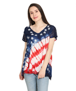 American Flag Patriotic Tie Dyed Top
