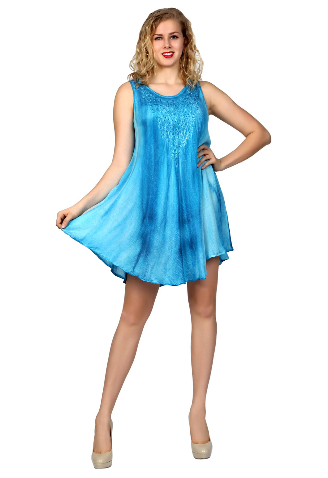 Tie Dyed Solid Mini Dress Top with Embroidery and Sequins Trim