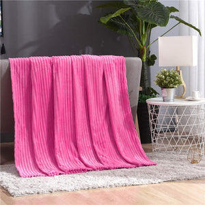 Fluffy Ribbed Super Soft Blankets For Beds Solid Coral Fleece Throws