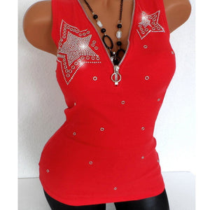 Cute Women's Rivet V-neck Top Sleeveless with Zipper
