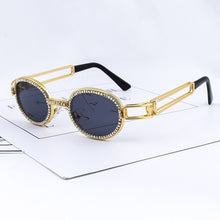 Load image into Gallery viewer, Steampunk Vintage Rhinestone Small Round Sunglasses Designer Fashion Colorful Shades UV400