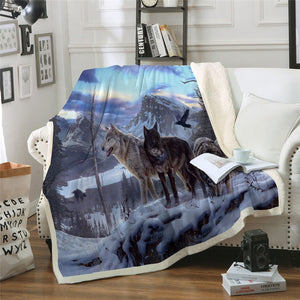 Snow Wolf Super Soft Sherpa Plush Throw Blanket