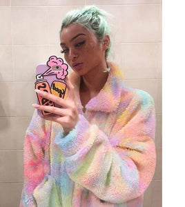 Pastel Tie Dye Teddy Coat Jacket Streetwear Faux Fur Plush Oversized Hoodie