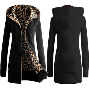 Leopard Oversized Hoodie Coat Autumn Long Zipper Streetwear Outerwear