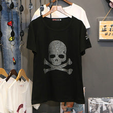 Load image into Gallery viewer, Skull Rhinestone T-Shirt Black Fashion Top Tees