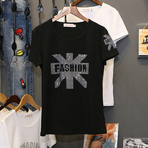 Skull Rhinestone T-Shirt Black Fashion Top Tees