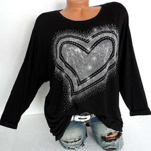 Rhinestone Heart Women's Fall Top Long Sleeve Bling