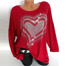Load image into Gallery viewer, Rhinestone Heart Women's Fall Top Long Sleeve Bling