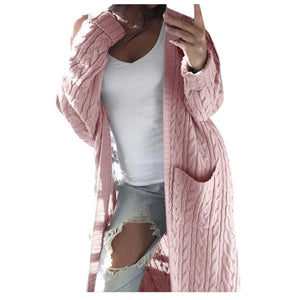 Cozy Casual Long Cardigan Sweater with Pockets Long Sleeve