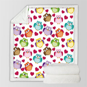 Cartoon Owls and Hearts Sherpa Blanket Throw Blanket for Kids