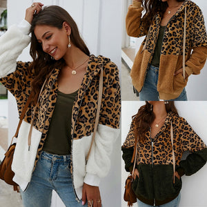 Leopard Fluffy Fur Hoodie with Zipper Long Sleeve Outerwear