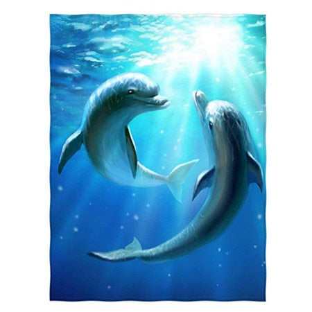 Dolphin Super Soft Throw Blanket for Bed Couch Lightweight 60x80 Inch