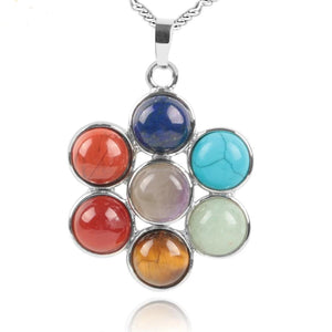 Chakra 7 Natural Stones Reiki Charm Pendant Necklace Yoga