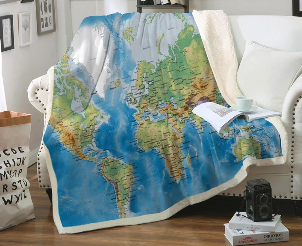 World Map Blanket Vivid Printed Blue Plush Sherpa Throw Blanket