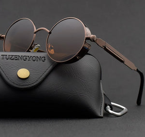 Gothic Steampunk Sunglasses Polarized Unisex Brand Designer Vintage Round Metal Frame Sun Glasses High Quality UV400