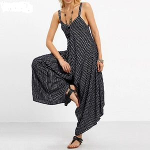 Women's Striped Jumpsuit Sexy Strapless Casual Loose