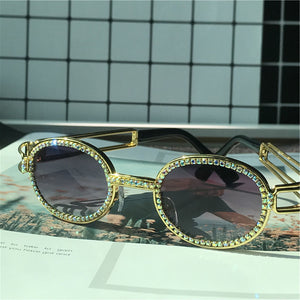 Steampunk Vintage Rhinestone Small Round Sunglasses Designer Fashion Colorful Shades UV400