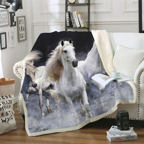 Running Horses Print Super Soft Sherpa Plush Throw Blanket