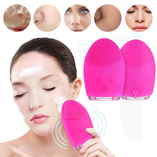 Mini Electric Silicone Face Cleaning Massage Brush Deep Cleansing Tool
