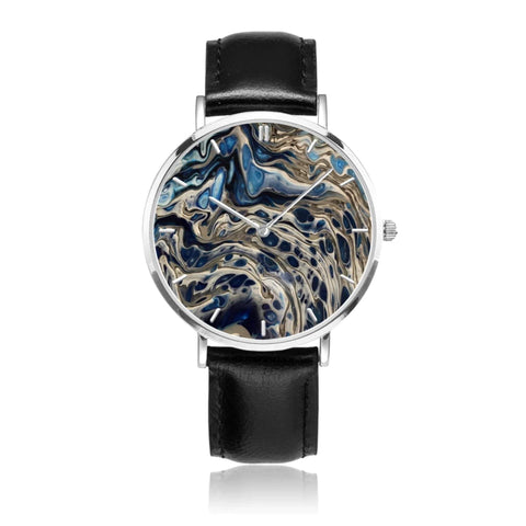 JetPrint Fulfillment Black / Abstract Leather Strap Watch - diameter - 33mm Abstract Leather Strap Watch