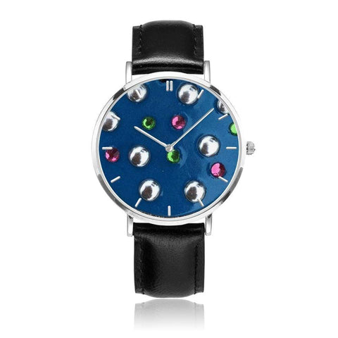 JetPrint Fulfillment Black / Denim Studs Leather Strap Watch - diameter - 33mm Denim Studs Leather Strap Watch