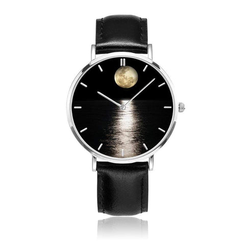 JetPrint Fulfillment Black / Moon on the Water Leather Strap Watch - diameter - 33mm Moon on the Water Leather Strap Watch