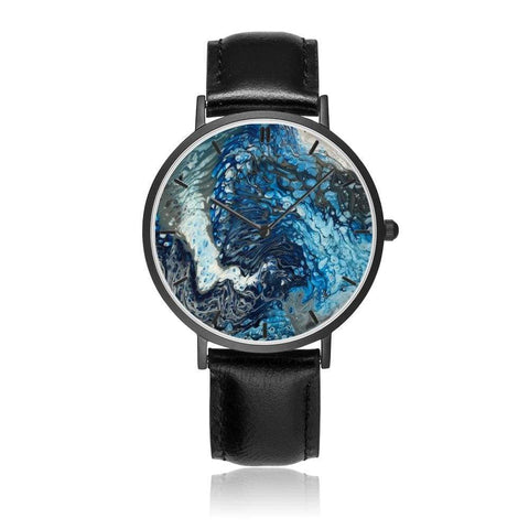 JetPrint Fulfillment Black / Ocean Leather Strap Watch - diameter - 33mm Ocean Leather Strap Watch