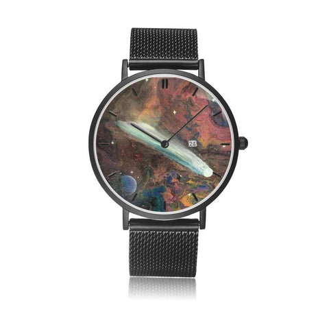 JetPrint Fulfillment Jewelry & Watches Black / Comet in Space Watch - diameter - 33mm Comet in Space Steel Strap Watch
