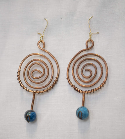 Kitten Hill Art Studio Jewelry Copper Spiral Earrings with Blue Bead