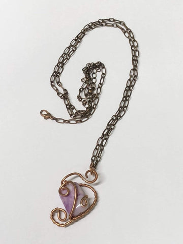 Kitten Hill Art Studio Necklace Copper Heart With Purple Jasper