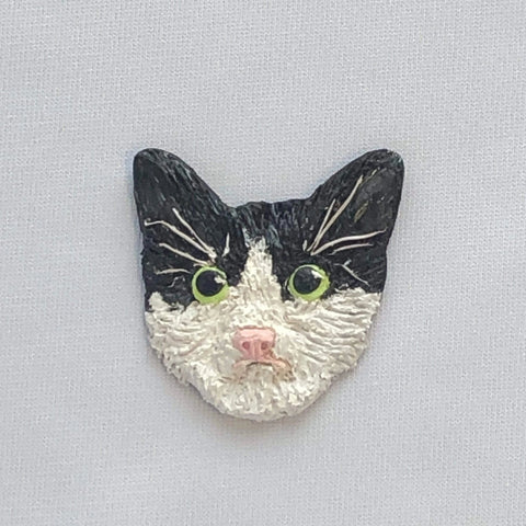 Kitten Hill Art Studio Pins and Magnets Black and white cat pin/magnet