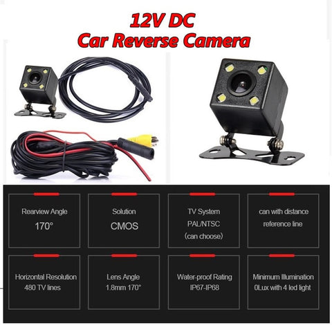 4 LED Backup reverse camera - Waterproof, wide angle
