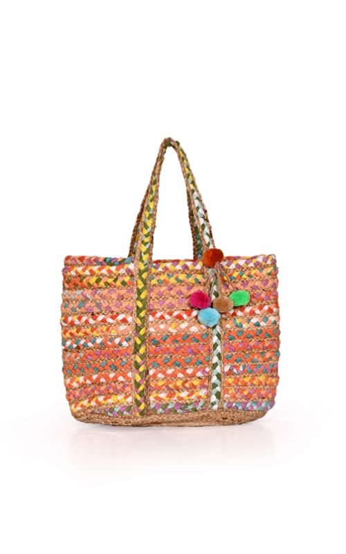 Orchid Braided Chindi Market Tote