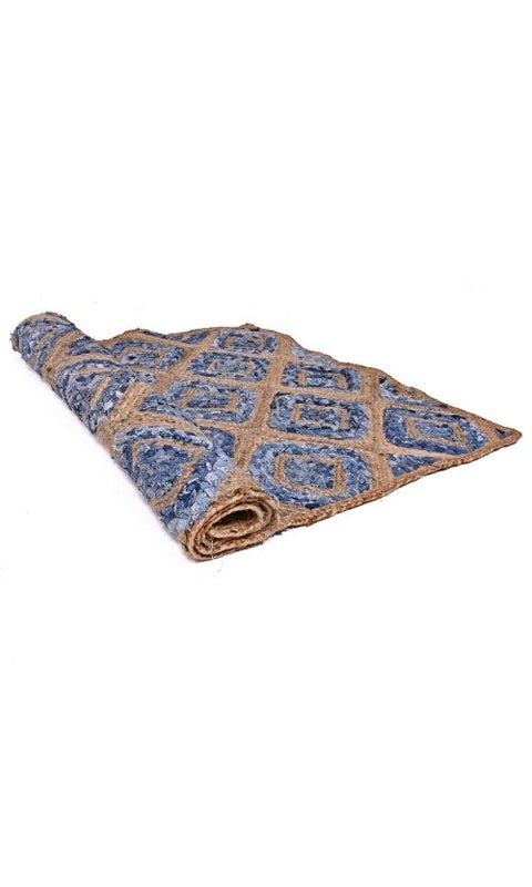 Diamond Design Jute Denim Rug